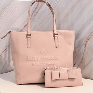 New Kate Spade Penny Leather Tote & Wallet Set